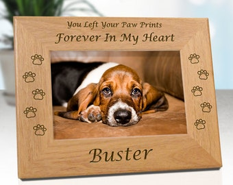 FREE SHIPPING - Dog Memorial Frame Personalized With Name - Choice Of In My Heart or In Our Hearts - Free Gift Box & Sympathy Card