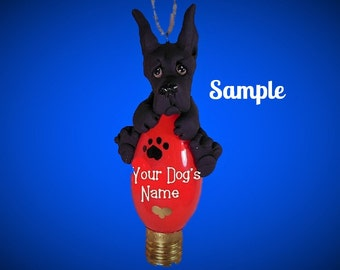 Black Great Dane dog choose cropped or natural ears Christmas Light Bulb Ornament Sally's Bits of Clay PERSONALIZED FREE with dog's name