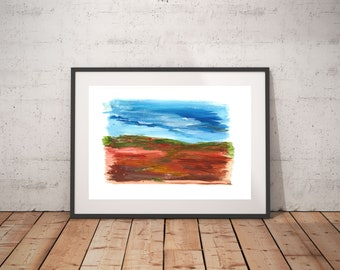 Landscape abstract wall art, Original landscape abstract, Bright color art, Modern colorful abstract, Modern entryway decor, Red lands