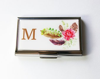Monogram Card Case for her, Business Card Case, Business card holder, Card case, Floral, flowers, feathers, card holder for her, boho (5823)