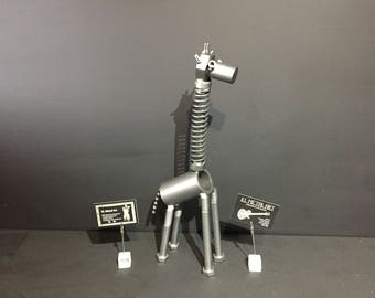Upcycled metal Giraffe with wobbly head