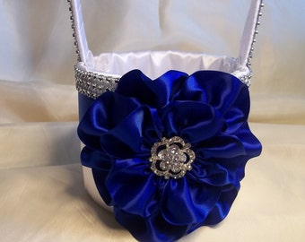 Flower Girl Basket with Cobalt Blue Flower and Rhinestone Mesh handle and Trim, Royal Blue, Custom Made to Order