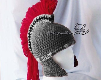 Helmet Pattern, Spartan Helmet, Trojan Helmet, INSTANT DOWNLOAD, 5 sizes Bay- Adult Crochet Pattern