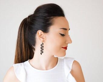 Mother Gift Modern Earrings Black Earrings Geometrical Earrings Statement Earrings Gold Earrings Lace Earrings Gold Earrings/ GILDA