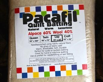 Lap Size - ALPACA/WOOL Blend Quilt Batting - Pacafil (Warm,Luxurious,Natural, Lightweight)