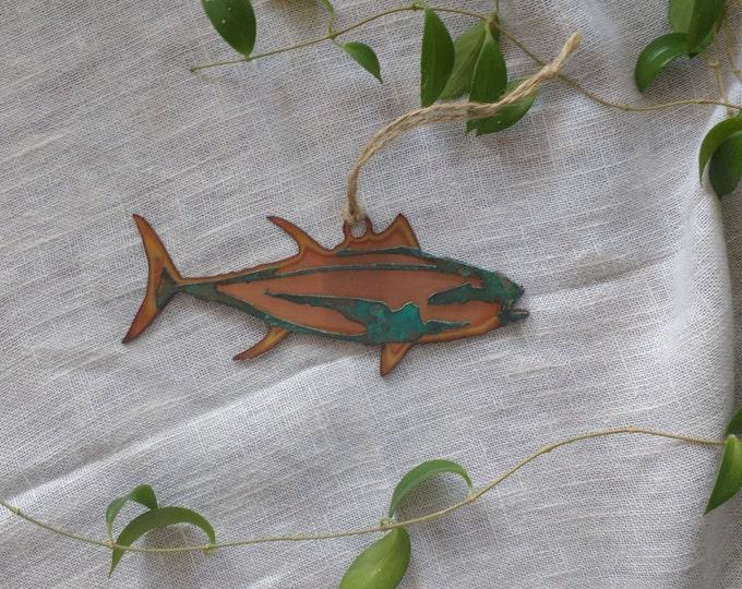 Yellow Fin Tuna Ornament: Copper and Copper