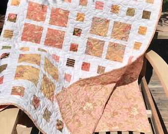 "Shabby Chic Handmade Double/Full Quilt 68""X83"" White, Yellow, Pink, Sage Green vintage-style floral fabrics"