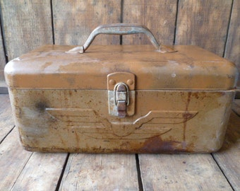 Large Vintage Rustic Metal Fishing, Tackle, Industrial, Storage Box