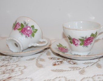 2 Vintage Tea Cups/Saucers, Demitasse Cups and Saucers, set of 2, Tea Party Cups, Pink Roses, Birthday Gift, Mothers Day Gift, Collectible