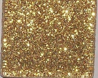 15 - 1 inch GOLD Glitter Glass Mosaic Tiles