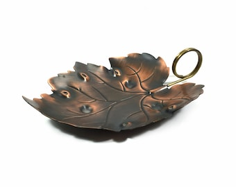 "Copper Leaf Tray by Coppercraft Guild, Large 8.75"" Copper Candy Dish, Rustic Home Decor"