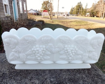 Lovely, heavy, rectangular vintage Westmoreland white milk glass paneled grape pattern planter