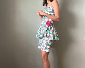 Vintage 80s Floral + Polka Dot Peplum Bodycon  Dress