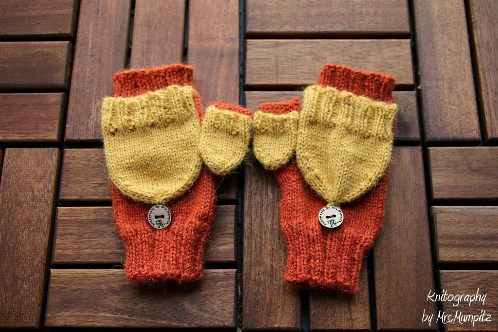 Convertible Mittens With thumb flap knitting pattern PDF download ...