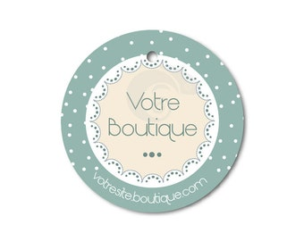 Labels round fancy matched to your shop, graphic design tags