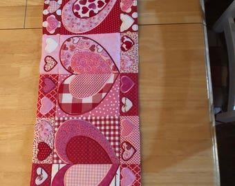 Valentine heart table runner home decor