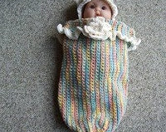 Sleep sack,cocoon,hat, 100% cotton,flowers, multi color,shower, gift,photo's,crocheted,baby,newborn,girl,baby,infants