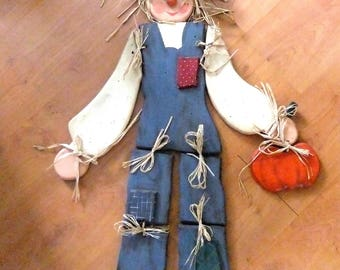 Pinewood Hand Painted Scarecrow OR Scarecrow For YOU to Paint - Put Together with Wooden Dowels 18 pieces