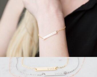 Custom Name Bracelet / Gold Bar Initial Name Plate Bracelet / Rose Gold Bridesmaid Gift / Hand Stamped Jewelry / Custom Silver Bar Bracelet