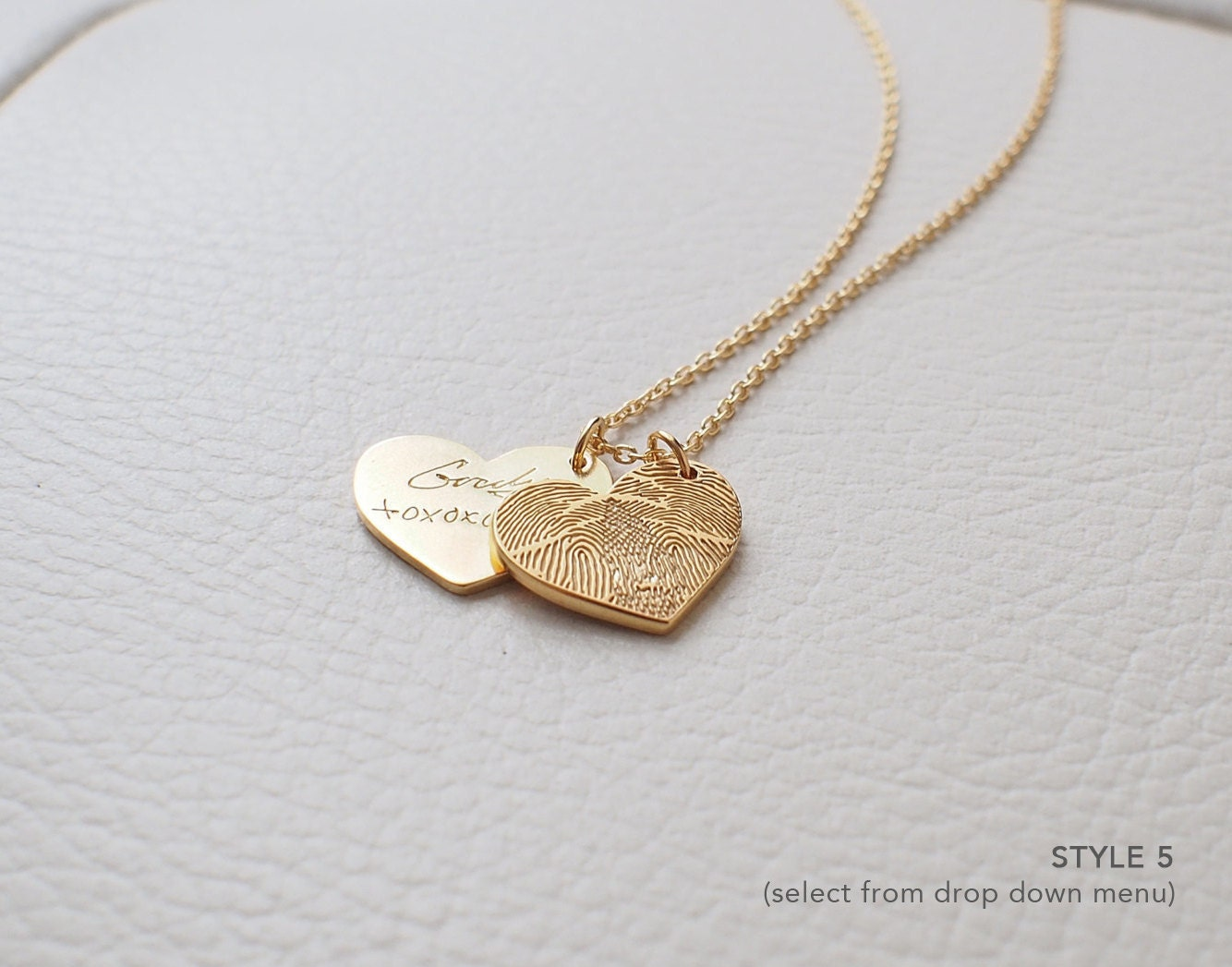 necklace hand large heart on jewellery fingerprint