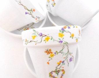 Hand Painted Clay Pots, Party Favor Pots, Shower Favor Pots, Flower Favor Pots, Plant Pots, Painted Baby Shower Favor Pots - SWEET PETITE