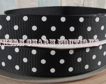 "3 yards of 5/8"" black/white polka dot grosgrain ribbon"
