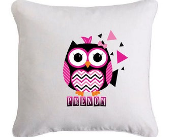 OWL cushion rock'roll personalized with name