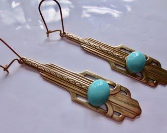 Art Deco earrings Art Nouveau earrings iconic 1920s 1930s style vintage jewellery turquoise drop earrings architectural earrings