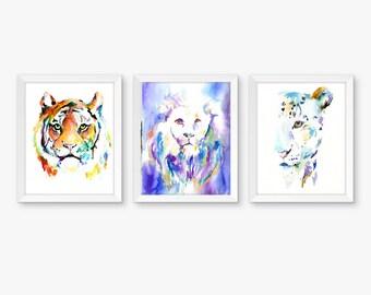 Big Cats Set of 3 Watercolor Prints, Nursery Art, Watercolor Nursery Prints, Animal Paintings, Animal Art, Print Set, Jungle Prints