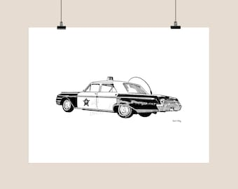 Mayberry Squad Car Pen and Ink Print - Andy Griffith Show - Mayberry Days Postmark - Illustration