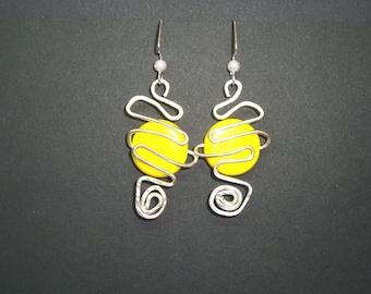 Bright yellow  earrings, Wire wrapped earrings,  Avant garde earrings, Swirl earrings, wire wrap earrings