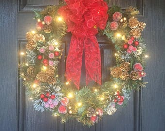 Lighted Christmas Wreaths For Front Door, Lighted Christmas Wreath, Xmas Wreath, Christmas Wreath Lighted, Christmas Door Wreaths