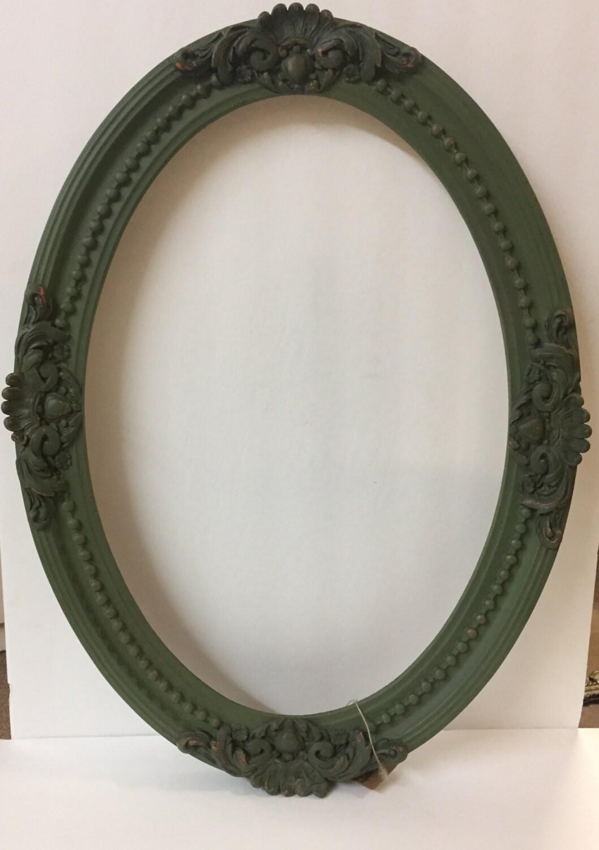 Antiguo cuadro marco Vintage Oval marco antiguo madera marco verde ...