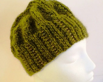 Olive Beaded hat in medium weight heathered wool with glass seed beads