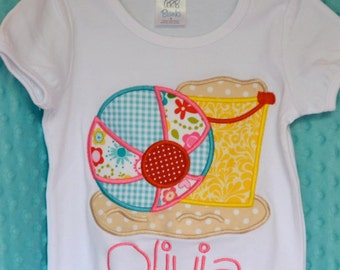 Personalized Beach Ball Sand Pail Bucket Applique Shirt or bodysuit Girl