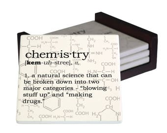 Chemistry Definition Coaster Set - Sandstone Tile with Cork Back - 4 Piece Set -  Wood Box Caddy Included