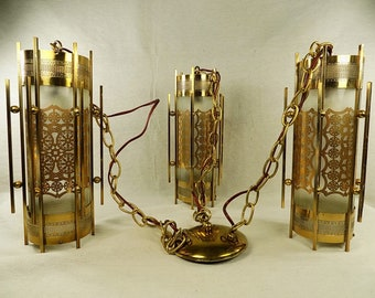 Stunning Vintage 1950s - Early 60s Hollywood Regency Ceiling Light Fixture ~ See Video in Description