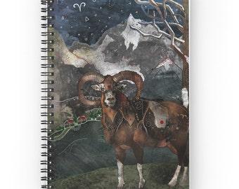 Aries the Ram, Spiral Notebook, Aries Notebook, Ram Notebook, Animal Notebook, Art Notebook, Art Planner, Lined Notebook, Journal Notebook