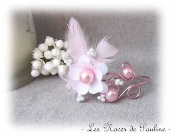 Pink and white bracelet Scarlett 'Les Volutes' wedding