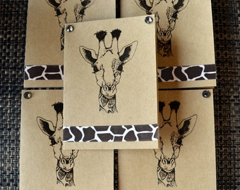GIRAFFE zoo safari note cards card gift hand crafted 5 pack