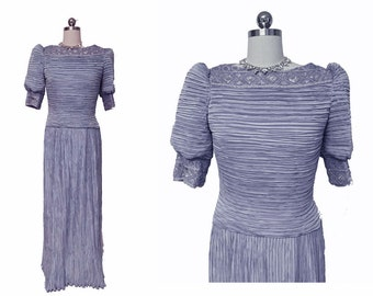 Vintage George F Couture Fortuny Look Pleated Evening Gown in Periwinkle designer gown