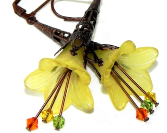 Lucite Trumpet Flower Earrings - Yellow Lilies -  Dark Copper Filigree Cone - Yellow, green and orange Swarovski crystals - Mothers Day gift