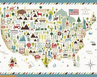 Coast to Coast Map Panel 43004P-X by Whistler Studios for Windham Fabrics