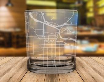 Eugene Oregon Map Whiskey Glass Gift