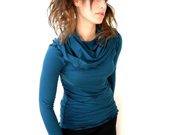 LONGSLEEVE COWL SHIRT womens blouse trending item| best selling| custom clothes| long sleeve shirt| cowl top| cowl shirt| teal shirt
