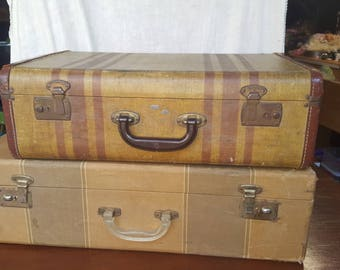 Pair of 1930s striped suitcases