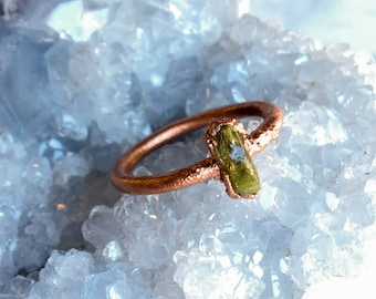 Raw Vesuvianite Crystal Ring Size 5 3/4