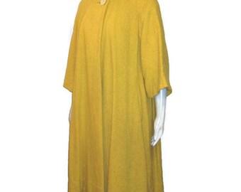 50s Swing Coat, Yellow Coat, Mustard Coat, 1950s Dress Coat, Yellow Spring Coat, Mustard Yellow, Three Quarter Sleeve, 3/4 Sleeve Coat