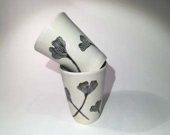 Tumbler Set - Pottery Cup, Pottery Tumbler, Handmade Tumbler, Stoneware Tumbler, Handbuilt Tumbler, Pottery Cup, Ginkgo Leaf, Ceramic Cup,