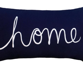 """Free Shipping-Home Sentiment Pillow Cover Embroidered Pillow Throw Pillow Decorative Pillow Wedding Birthday Anniversary Gift 14""""x24"""" (Navy)"""